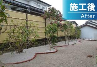 竹垣、植栽施工後